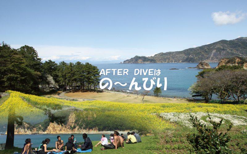 伊豆半島一番の景観の黄金崎公園はダイビングの後の芝生でくつろぐのも気持ちいい