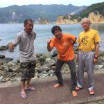 静岡県西伊豆町黄金崎公園ビーチでダイビングした3人組です。いい海でした~。