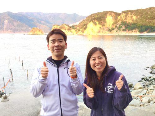 静岡県西伊豆町黄金崎公園ビーチにお越しのゲスト様です。ここはダイビングはもちろんシュノーケリングや体験ダイビングも楽しめる絶景ポイントです。