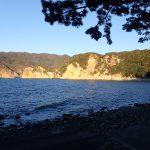 黄金崎公園の夕方の海