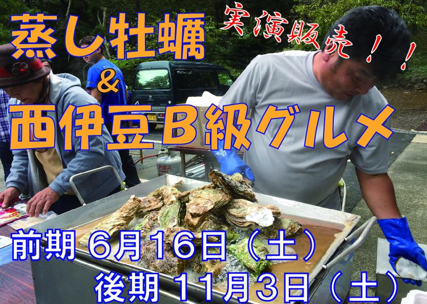 静岡県西伊豆町黄金崎公園ビーチの牡蠣&地場産品の実演販売の画像です。ここはダイビングはもちろんシュノーケリングや体験ダイビングも楽しめる絶景ポイントです。