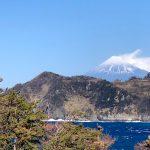 富士山:静岡県西伊豆町黄金崎公園ビーチのダイビングで見れました。ここはダイビングはもちろんシュノーケリング(スノーケリング)や体験ダイビングも楽しめる絶景ポイントです。
